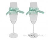 Detail anzeigen - Sektglass mit der Spitze mint-green
