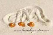 Detail anzeigen - Haarnadel silber mit Perle in orange
