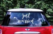 Detail anzeigen - Etikette Just Married als Autodeko