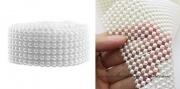 Detail anzeigen - Perlenkette in weiss, Breite 4 cm