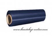 Satinstoff in navy blue, 15 cm Breite