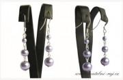 Detail anzeigen - Feine Ohrringe mit den Perlen in lila