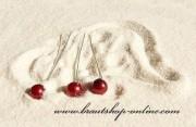 Detail anzeigen - Haarnadel silber mit Perle in bordeaux