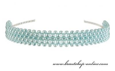 Haarreif blaue Perlen