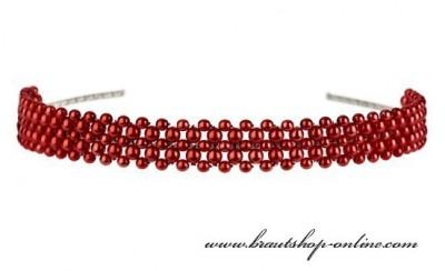Haarreif rote Perlen